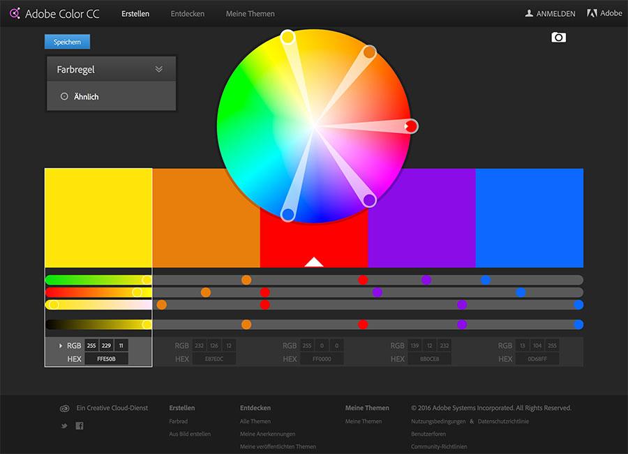 farbtheorie harmonische farben f r design der website finden. Black Bedroom Furniture Sets. Home Design Ideas