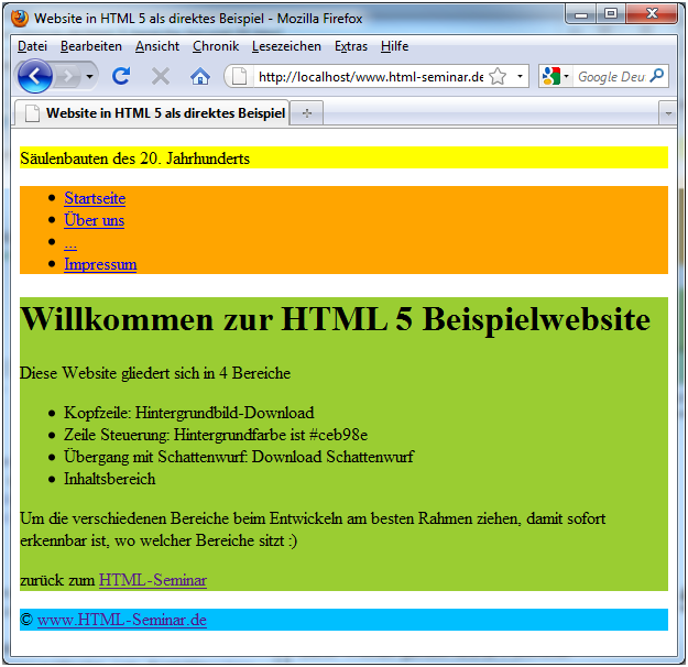 Design mit HTML5 und Firefox 3.5 und display: block