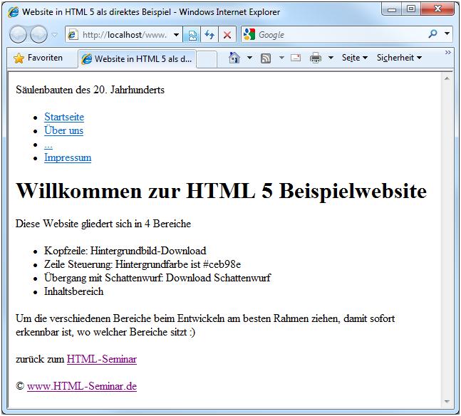 HTML5 lernen: neue strukturierende Elemente