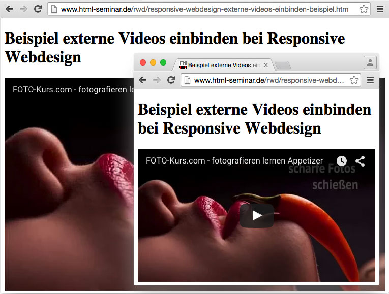 externe Videos einbinden in Responsive Webdesign